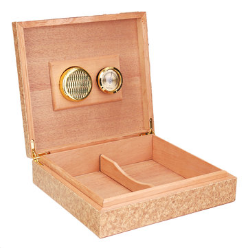 Brown Cedar Wood Lined Cigar Storage Box Case with Humidor Humidifier Hygrometer