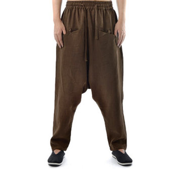 Mens Cotton Vintage Chinese Style Baggy Pants Elastic Waist Loose Casual Cross Pants