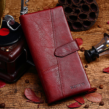 Women Genuine Leather 19 Card Slots Long Wallet Phone Bag Coin Purse