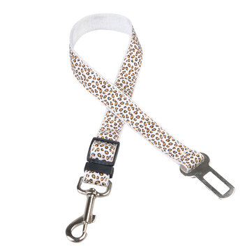 Dog Cat Retractable Leopard Car Seat Belt Safety Rope Puppy Seat Belt Leashes Universal