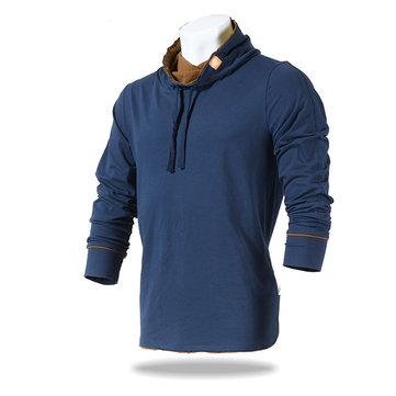 JOZSI mens outono topos ao ar livre gola de algodão esporte ocasional de manga longa t -shirt