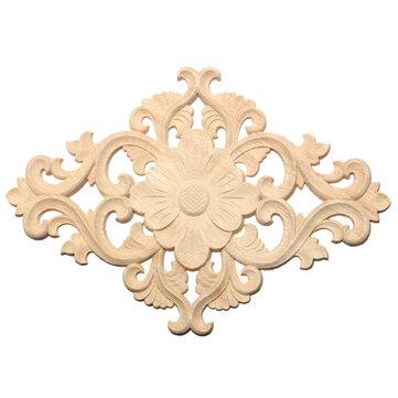 Wood Carving Applique Unpainted Onlay Flower Pattern Door Furniture Cabinet Decal Decor