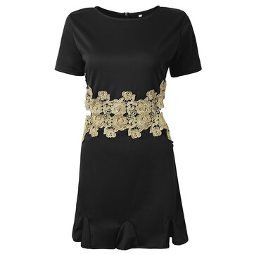 Sexy Hollow Out Embroidery Women A-Line Mini Dress