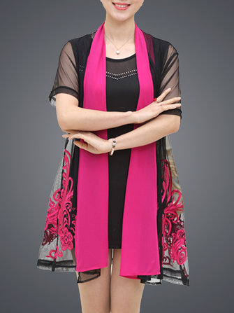 Elagant Women Embroidery Dress and Cardigan