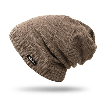 Men Winter Warm Knitted Plus Plush Beanie Hats