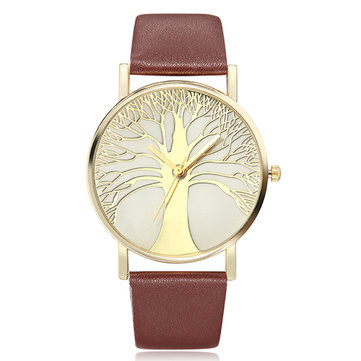 Casual Life Tree PU Leather Strap Analog Quartz Watch