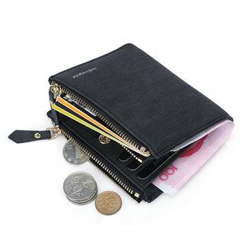 Mannen RFID Blokkerende Veilige Portemonnee Dubbele Rits Beschermende Korte Portemonnee Met 8 Kaart Slots