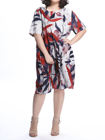 Casual Mori Girl Women Flower Leaf Pattern Printed Pocket Dress