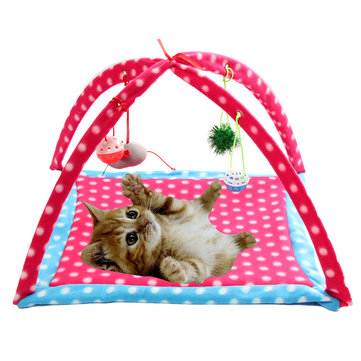Pet Dog Cat Mobile Multifunctional Playing Tent Toys Foldable Activity Pet Bed Mat Pad Blanket House
