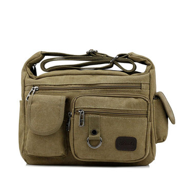 Large Capacity Men Casual Canvas Shoulder Messenger Bag Travel Crossbody Bag