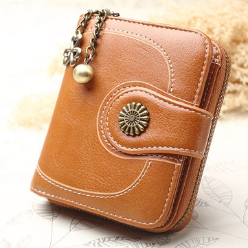 Women's Oil Wax Purse Three Fold Coin Bag Clutch Wallet
