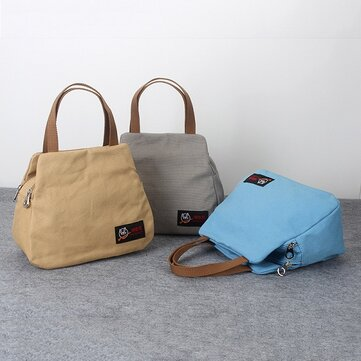Women Canvas Casual Daily Double Zipper Layer  Capacity Handbag