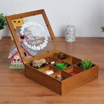 Wooden Storage Box Jewelry Vintage Compartments Accessories Storage Container Pine Wood Gift Box