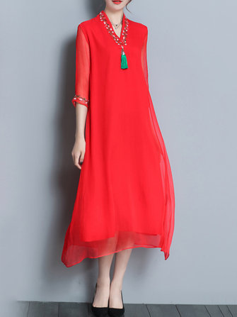 Women Vintage Chinese Style Loose Casual Dress