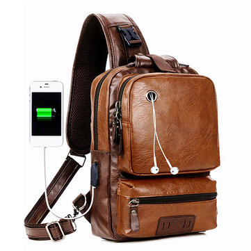 Men Large Size USB Charging Port Chest Bag Sling Bag