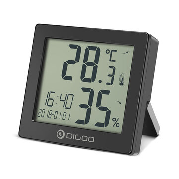DIGOO DG-C11 Hygrometer Clock Digital Thermometer Hourly Chime Calendar Daily Clock