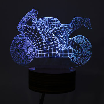 DC5V 0.5W 3D Motorcycle LED Table Lamp Visual Desk Bedroom Night Lights USB Powered Remote Control