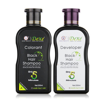 2Pcs Dexe Black Hair Shampoo Economic Set Only 5 Minutes Hair Color Hair Dye 200ml