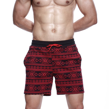 Men's Casual Drawstring Arrow Pants Knitting Geometric Pattern Home Shorts