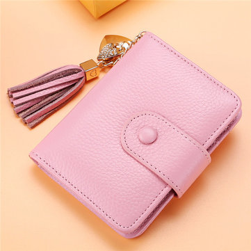 Women Genuine Leather Card Holder Tassel Purse