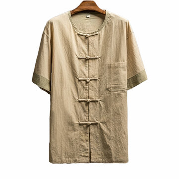 Mens Chinese Style Frog Button O Neck Cotton Linen Casual Loose Shirts Tops