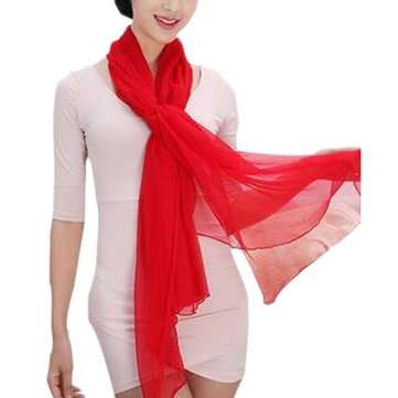 Women Chiffon Scarf Silid Color Soft Elegant Scarves Shawl Long Design Scarf