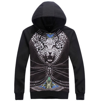 Men's Spring Fashion Leopard Printing Hooded Sweatshirt