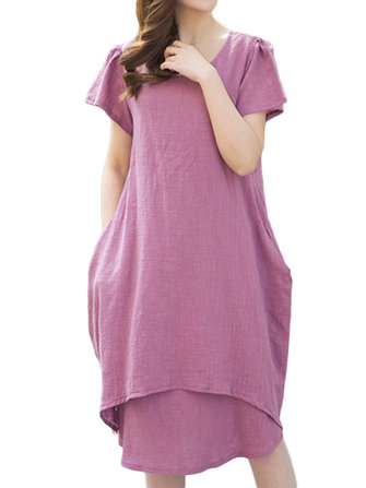 Elegant Women Fake Two-piece Solid Pocket Cotton Linen Dress