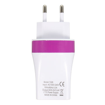 Buy EU Plug 5V/3.4A 3 Port USB Wall Charger Power Fast Charging Adapter Home Travel for $2.88 in Banggood store