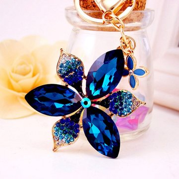 Honana DX-01 Creative Exquisite Petals Crystal Car Key Chain Trendy Handbag Pendant Bag Buckle