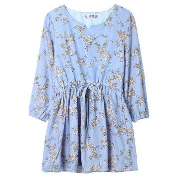 Bohemian Casual Women Floral Drawstring A-line Mini Dress