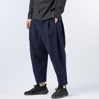 TWO-SIDED Mens Multi-Fold Cotton Linen Loose Mid Waist Casual Baggy Harem Pants