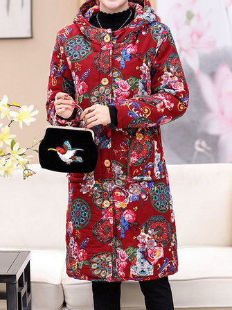 Floral Print Buttons Long Sleeve Hooded Coats