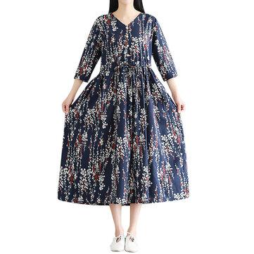 Casual Women Floral Printed V-Neck 3/4 Sleeve Drawstring Waist Dresses