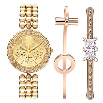 LIANDU LD1003J Gold Color Diamond Jewelry Bracelet and Watch Set Stainless Steel Strap Watches
