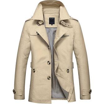 เสื้อกันหนาวบุรุษโพสต์ทุมรัดคอMensCasualบางFitCotton Overcoat