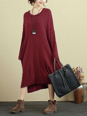 Casual Women Stripe Batwing Sleeve Dress