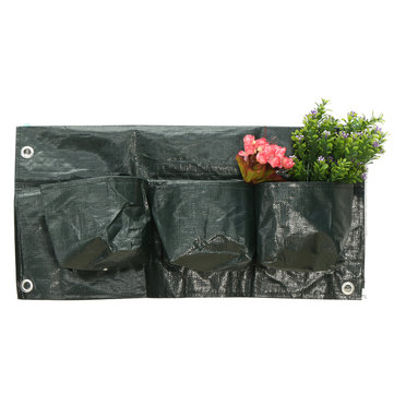 6 Pockets Home Garden Balcony Plant Bags Hanging Flower Pot PE Planting Grow Bag