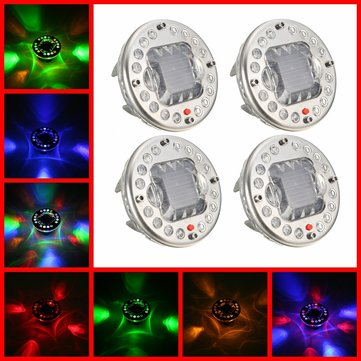 4pcs LED Solar Energy RGB Flash Car Wheel Tire Valve Cap Lights w/ Remote Control