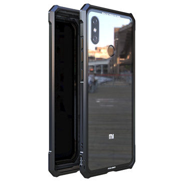 Bakeey Shockproof Metal Frame Transparent Clear Tempered Glass Back Protective Case For Xiaomi Mi 8