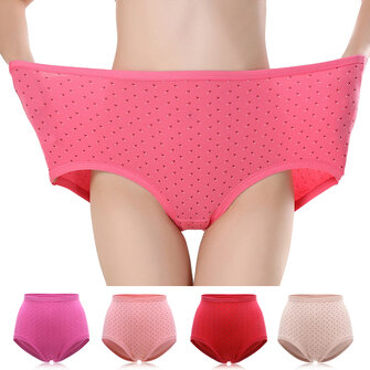 Plus Size Cotton Women Underwear Solid Color High Waist Comfortable Panties