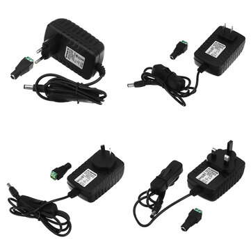 AC85-265V to DC12V 2A 24W Power Supply Adapter with Switch for LED Strip Light