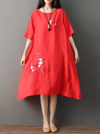 Vintage Women Loose Cotton Linen Embroidered O-Neck Short Sleeve Dress