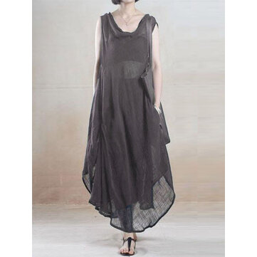 Women Sleeveless V Neck Loose Casual Irregular Hem Dress with Pocket
