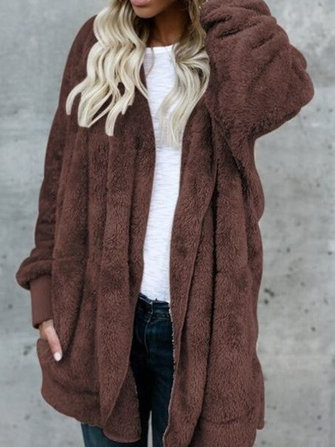 Women Multicolor Fluffy Faux Fur Soft Hooded Coats