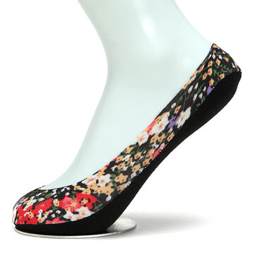 Women Floral Print Invisible Antiskid Cotton Boat Socks Shallow Liner No Show Peep Low Cut Hosiery