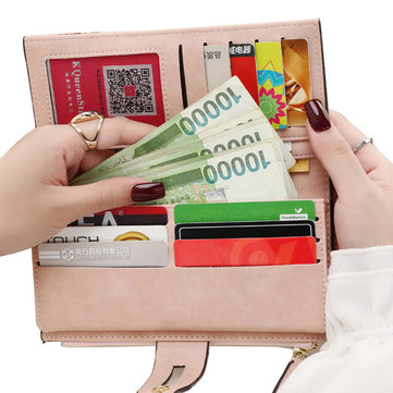 Buckle Zipper Long Wallets Detachable Belt Purse Card Holder Coin Bags 5.5'' Phone Purse For Iphone