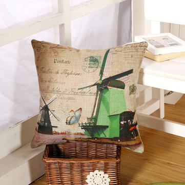 Buy Classic Windmill Cotton Linen Throw Pillow Case Car Office Sofa Waist Cushion Cover for $8.91 in Banggood store