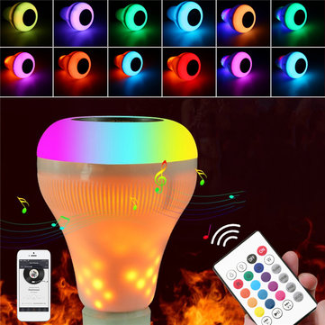 18W B22 E27 RGBW+Yellow Flame Bluetooth Speaker Music Play LED Bulb Wireless Remote AC85-265V