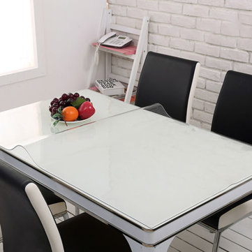 Wipe Clean Transparent Tablecloth Mat PVC Glass Effect Antifouling Table Protection Cover